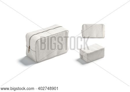Blank Canvas Cosmetic Bag Mockup, Different Views, 3d Rendering. Empty Cotton Cosmetician For Face M