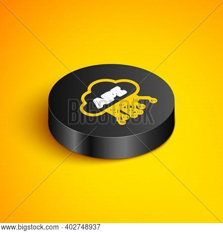 Isometric Line Cloud Api Interface Icon Isolated On Yellow Background. Application Programming Inter