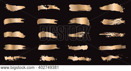 Set Of Gold Ink Strokes Isolated On Black Background. Collection Of Grunge Metal Paint Texture For D