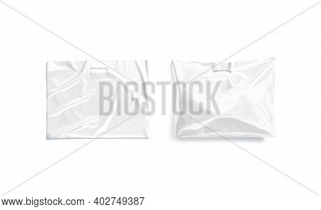 Blank White Die-cut Full Plastic Bag With Handle Hole Mockup, 3d Rendering. Empty And Full Diecut Pa