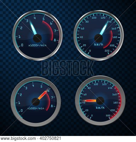 Realistic Illustration Of Speedometer With Red Pointer. Speedometer Vector Car Speed Dashboard Panel