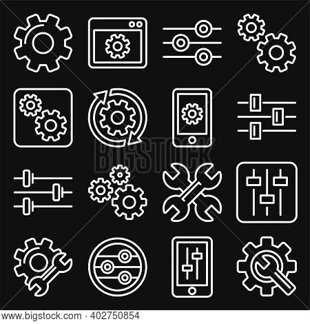 Settings, Options, Configuration Or Preferences Icons Set. Line Style Vector