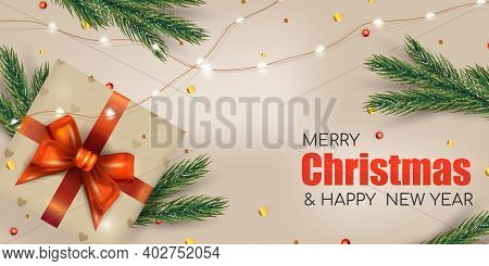 Bright Christmas Background For Banner. Xmas Fir Pine And Real Gift Box. Merry Christmas And Happy N