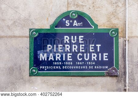 Old Street Sign  Rue Pierre Et Marie Curie - English: Street Pierre And Marie Curie In The Old Histo