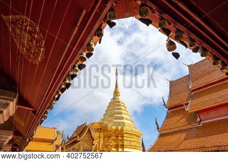 Wat Phra That Doi Suthep With Blue Sky In Chiang Mai. The Attractive Sightseeing Place For Tourists