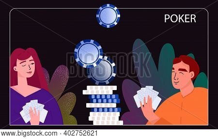 Man And Woman Play Poker, Cards. Gambling Hand Drawn Illustration. Casino, Blackjack, 21. Vector Ill