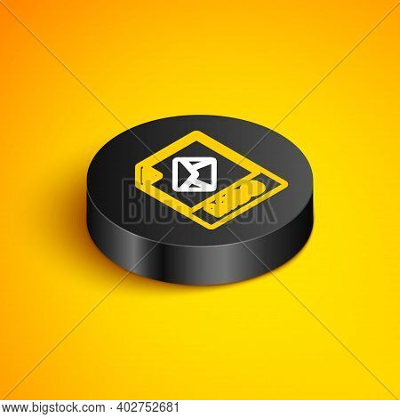 Isometric Line Msg File Document. Download Msg Button Icon Isolated On Yellow Background. Msg File S