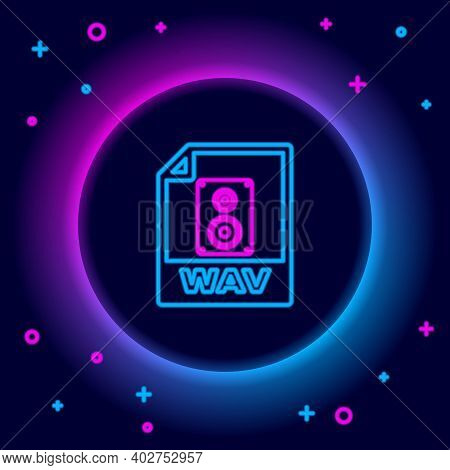 Glowing Neon Line Wav File Document. Download Wav Button Icon Isolated On Black Background. Wav Wave