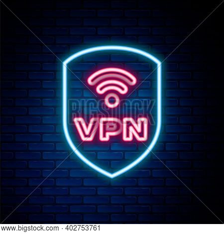 Glowing Neon Line Shield With Vpn And Wifi Wireless Internet Network Symbol Icon Isolated On Brick W
