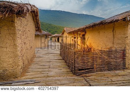 The Bay Of The Bones The Reconstructed Site Of Prehistoric Settlement Houses At Lake Ohrid, North Ma
