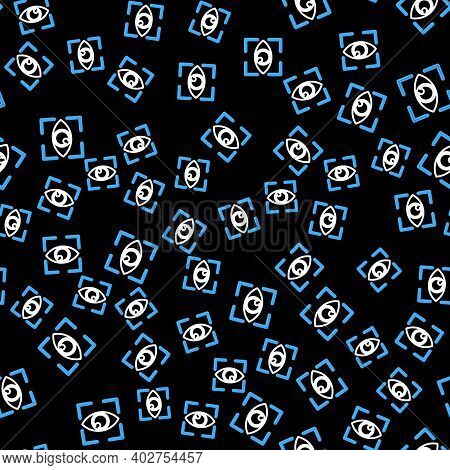 Line Eye Scan Icon Isolated Seamless Pattern On Black Background. Scanning Eye. Security Check Symbo