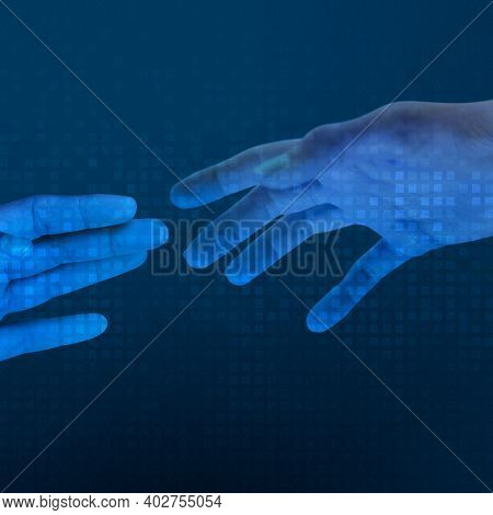 Human blue hands reaching for each other