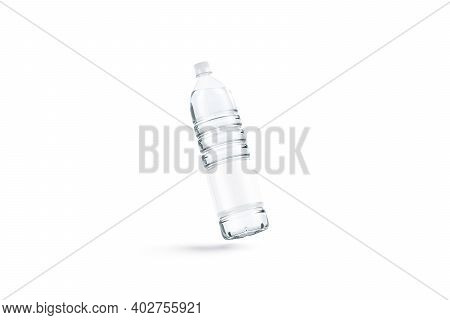Blank Transparent Plastic Bottle With Water Mockup, No Gravity, 3d Rendering. Empty Disposable Liter