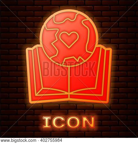 Glowing Neon Earth Globe And Book Icon Isolated On Brick Wall Background. World Or Earth Sign. Globa