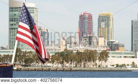 Metropolis Urban Skyline, Highrise Skyscrapers Of City Downtown, San Diego Bay, California Usa. Wate
