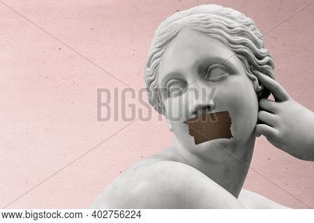 Ancient Greek marble sculpture taped lips aesthetic pink background