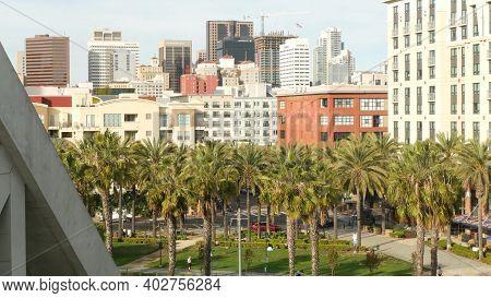 San Diego, California Usa - 30 Jan 2020: Metropolis Urban Skyline, Highrise Skyscrapers, City Downto