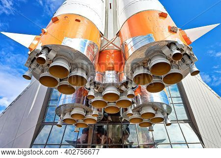 Space Rocket Engines Of The Russian Spacecraft Over Blue Sky Background