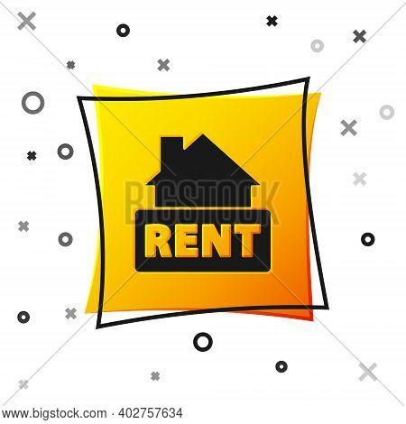 Black Hanging Sign With Text Rent Icon Isolated On White Background. Signboard With Text For Rent. Y
