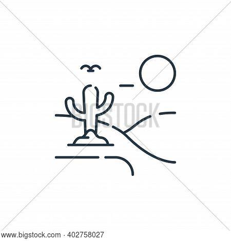 desert icon isolated on white background. desert icon thin line outline linear desert symbol for log