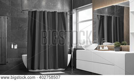 Blank Black Closed Shower Curtain Mockup, Half-turned View, 3d Rendering. Empty Dark Fabric Or Polye