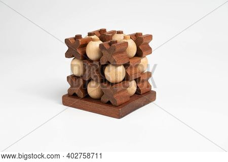 Tic-tac-toe Game. The Game Is A Draw. Three-dimensional Wooden Voluminous Field For Tic-tac-toe Comp