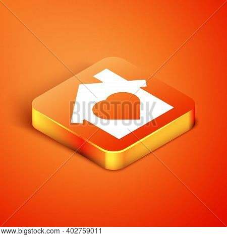 Isometric House With Heart Inside Icon Isolated On Orange Background. Love Home Symbol. Family, Real