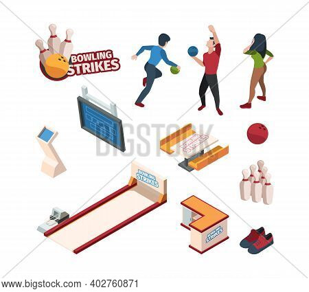 Bowling Sport. Isometric Balls Skittles Game Specific Shoes Floor For Bowling People Playing Vector