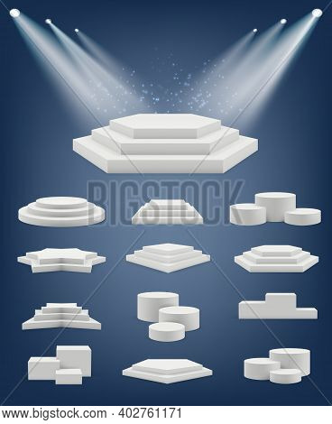 Podium Realistic. Showroom Pedestal Stages Different Platforms Arena Winner Table Shapes Vector Coll