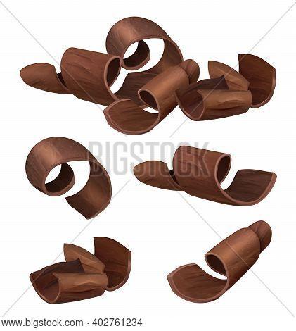 Chocolate Curl. Shaving Parts Of Black Chocolate Pieces Vector Realistic Templates. Illustration Bro