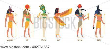 Egypt Gods. Ancient Authentic Characters Fairytale History Sculptures Pharaon Jackal Anubis Birds Os