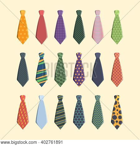 Ties Collection. Colorful Business Scarf For Man Garish Vector Different Ties Set. Professional Neck