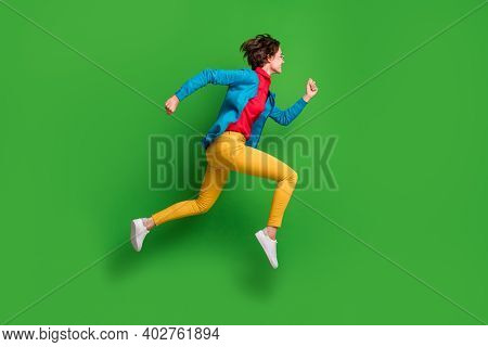 Full Length Body Size Side Profile Photo Of Jumping Running Girl In Colorful Clothes Isolated On Vib