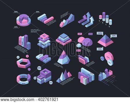 Hud Isometric. Infographic 3d Futuristic Elements Pyramid Charts Column Timelines Garish Vector Busi