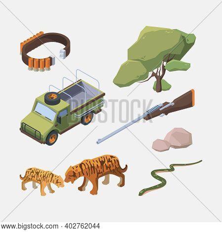 African Safari Isometric. Wild Animals People And Tourist Transport Africans Hunters Garish Vector C
