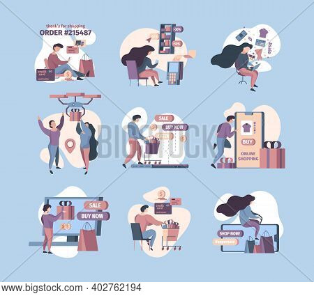 E Commerce Characters. Software Digital Customers Online Store Smartphone Payment Garish Vector Conc
