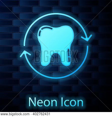 Glowing Neon Tooth Whitening Concept Icon Isolated On Brick Wall Background. Tooth Symbol For Dentis