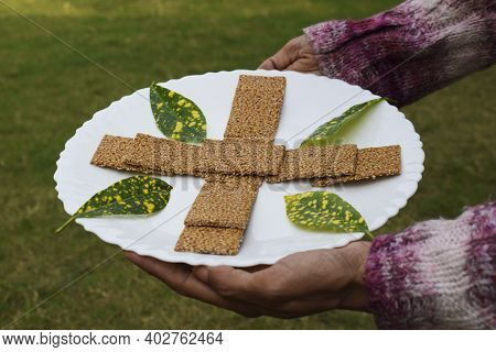 Female Hand Holding Winter Special Sweet Dish Of White Sesame And Jaggery Melted In Clarified Butter