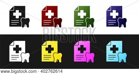 Set Clipboard With Dental Card Or Patient Medical Records Icon Isolated On Black And White Backgroun