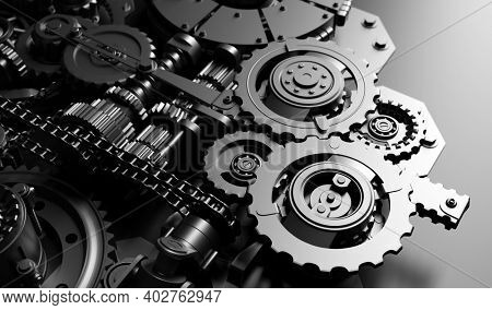 Gears and cogs mechanism. Industrial machine, engine. Close-up macro. Black and white 3D illustration