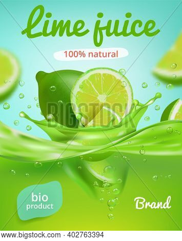 Lime Juice Poster. Ads Placard With Fresh Fruits And Juice Splashes Healthy Liquid Products Tonic Or