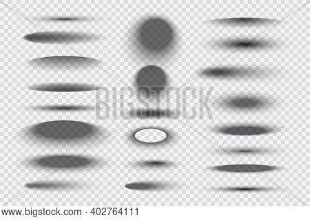 Oval Round Shadows. Circular Realistic Transparent Gradient Shapes Decent Vector Templates Collectio