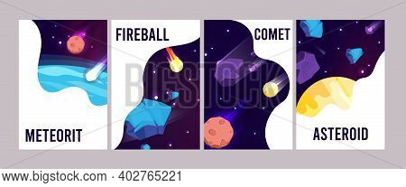 Space Universe Cards. Cartoon Meteorit Comet Fireball Vector Posters. Illustration Space And Univers