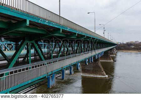 Warsaw January 20 2020 Blue Sign At Bottom Of The Gdanski Bridge