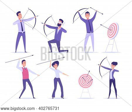 Business Archer. Office Manager Shooting To Goal Target Or Aim Professional With Bow And Arrows Exac