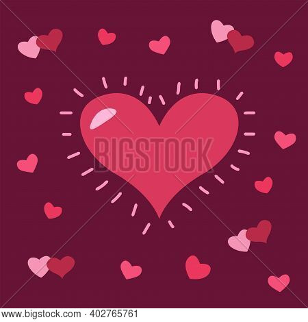 Valentine's Day Card. Red And Pink Hearts. Love Postcard. Big And Small Hearts. Vector Illustration.