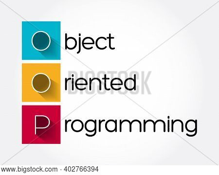 Oop - Object Oriented Programming Acronym, Technology Concept Background