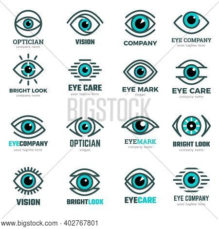 Eyes Symbols. Medical Logotypes Collection For Ophthalmological Clinic Focus Human Eye Vision Recent