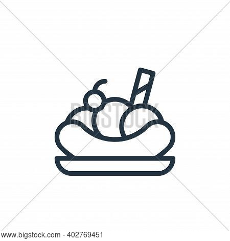 banana split icon isolated on white background. banana split icon thin line outline linear banana sp