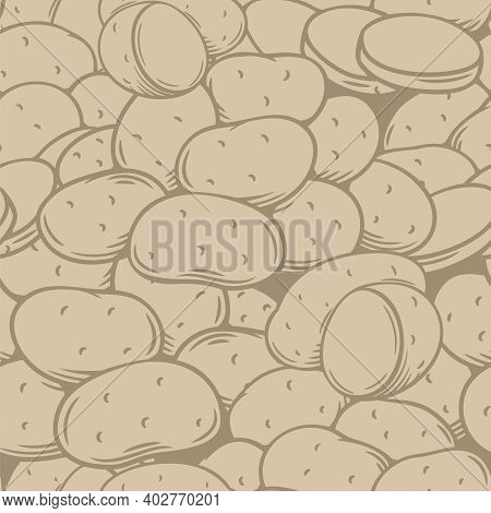 Potato Tubers Seamless Pattern Outline Hand Drawn Brown, Vector Illustration. Backdrop Of Engraved R